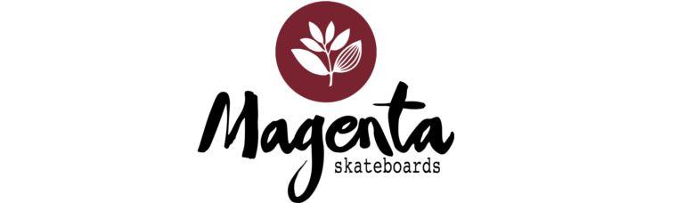 Das Logo von Magenta Skateboards .