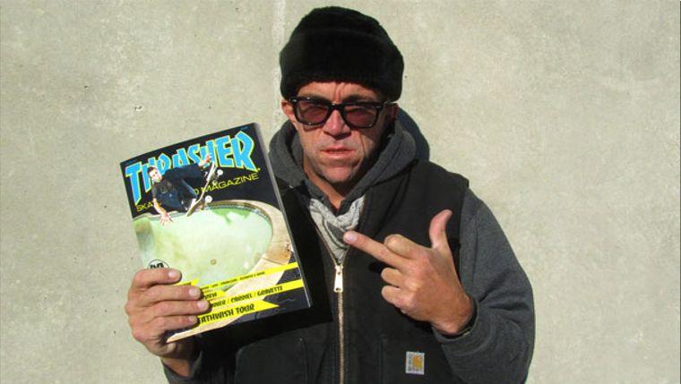 Ex-Vert-Skater Jake Phelps ist seit über 20 Jahren Chefredakteur des Thrasher Magazines.