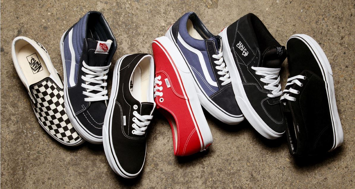 The popular classics from Vans: the Slip On, Skate Hi, Authentic, Old Skool and Half Cab.