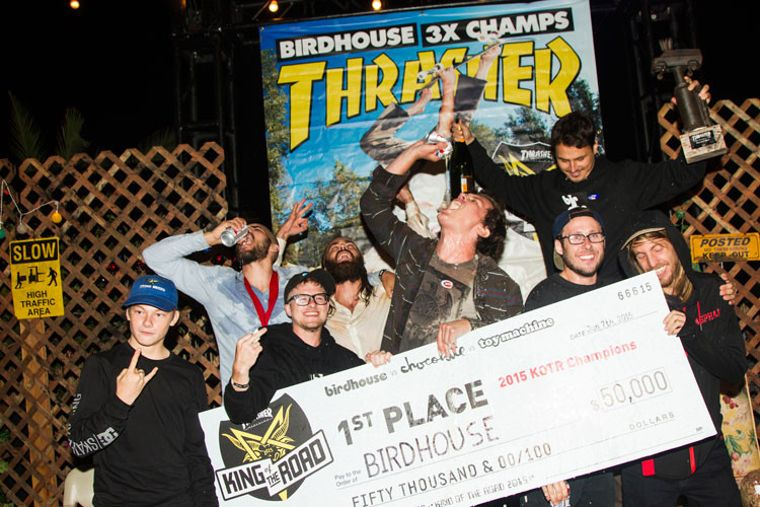 The Birdhouse team won the King of the Road Tour by Thrasher Magazine for the third time in 2015.