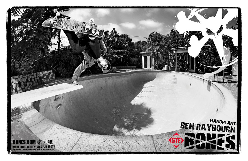 Bones Wheels team rider Ben Raybourn with a handplant.