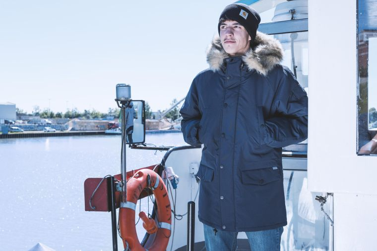 The Acrylic Watch Hat and the Anchorage Parka are classic Carhartt items.