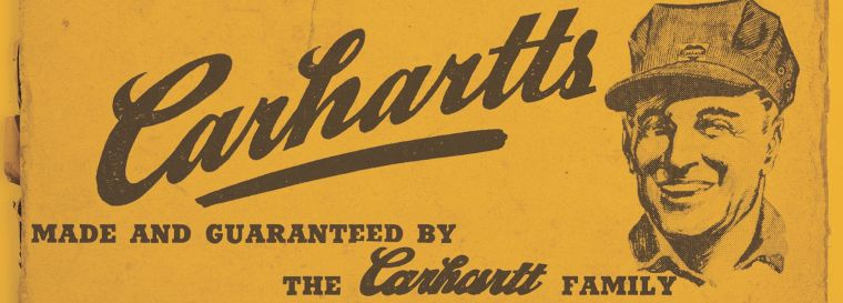 Carhartt was founded in 1889 in Detroit as a workwear manufacturer. Here's one of their early ads.