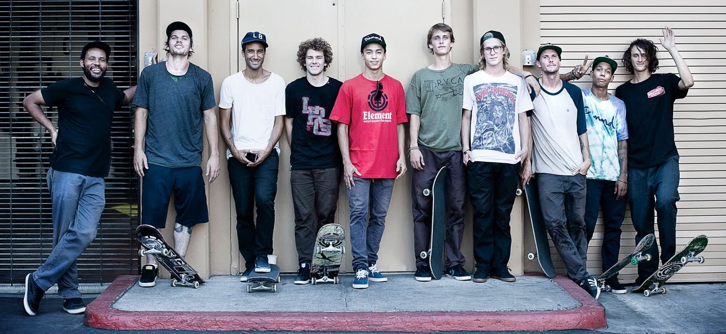 Das Team von Element Skateboards mit unter anderem Ray Barbee, Mark Appleyard, Nyjah Huston, Evan Smith, Chad Tim Tim und Nick Garcia