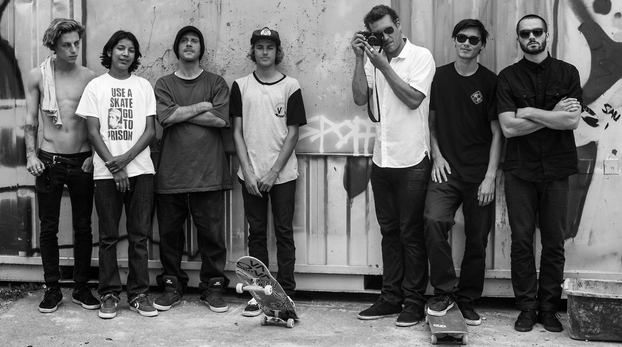 A few members of the Flip Skateboards Team: Ben Nordberg, Louie Lopez, Tom Penny, Curren Caples, Arto Saari, Denny Pham and Matt Berger.