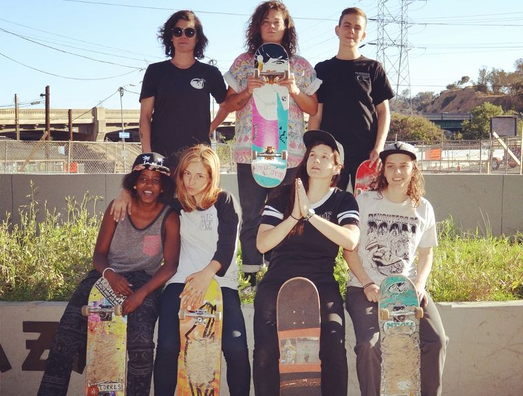 The Meow Skateboards team: Vanessa Torres, Amy Caron, Lacey Baker, Tierra Cobb, Marissa Martinez, Savannah Headden and Shari White.