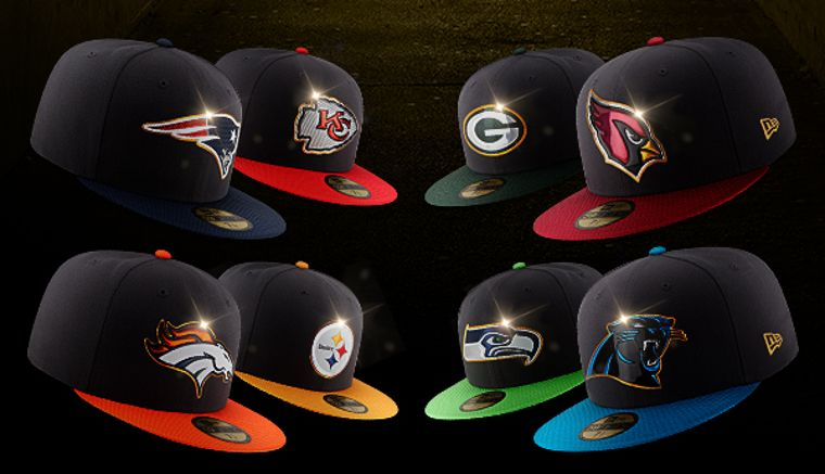 New Era Caps von Teams aus der NFL, den New England Patriots, den Kansas City Chiefs, den Green Bay Packers, den Arizona Cardinals, den Denver Broncos, den Pittsburgh Steelers, den Seattle Seahawks und den Carolina Panthers.