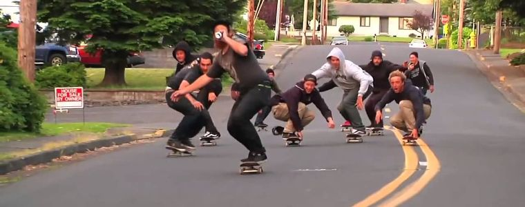 The OJ Wheels team, hill bombing.