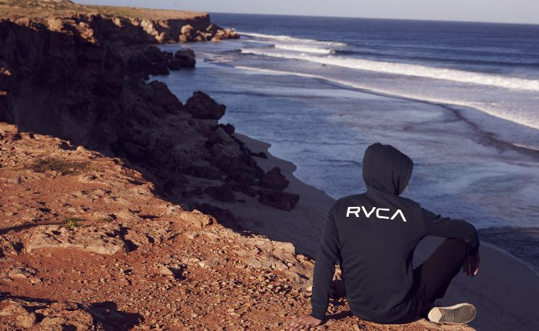 A hoodie with the RVCA logo.