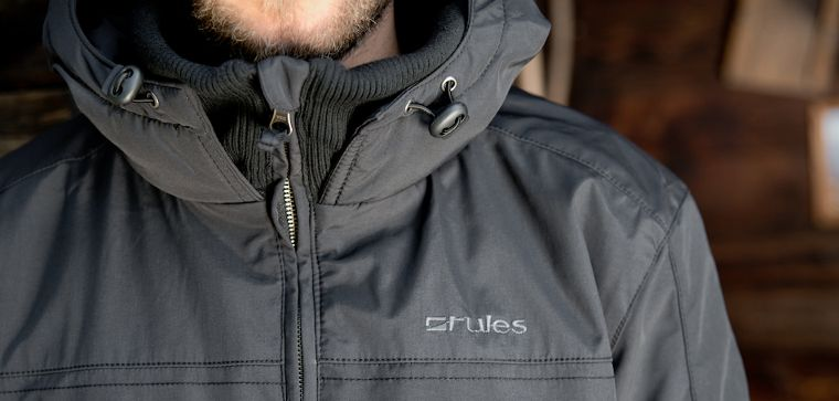 The Rules logo on a jacket.
