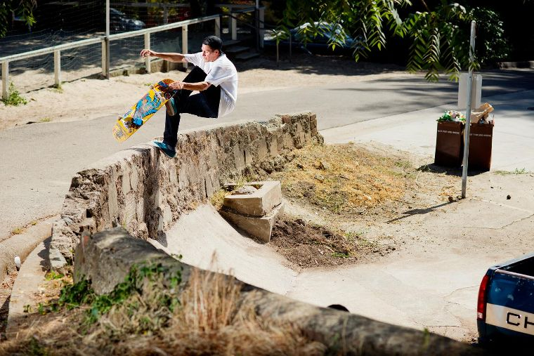 Santa Cruz team rider Justin Strubing with a Boneless.